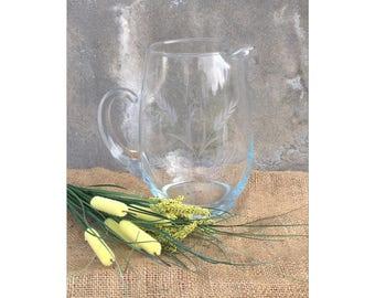 Blown Glass Pitcher - Vintage Pitcher - Vintage Glass Pitcher - Etched Glass Pitcher - Sangria Pitcher - Glass Pitcher - Glass Vase