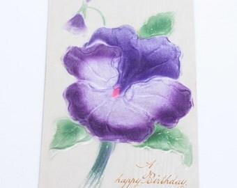 Flocked Purple Pansy Birthday Postcard Antique Vintage