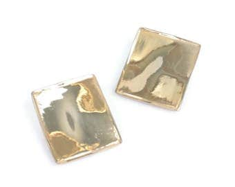 Designer Modernist Earrings Gold Tone Rectangular Signed Les Bernard Clip On Vintage