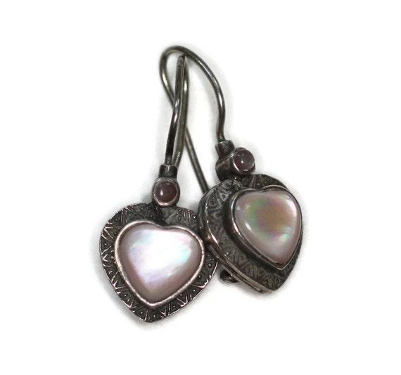 MOP Shell Heart Earrings Sterling Silver Pierced Lever Back Vintage Dangle