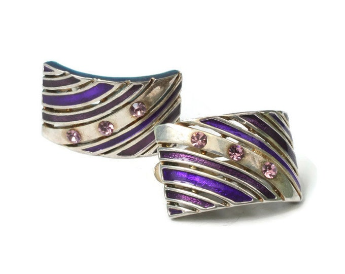 Purple Rhinestone and Enamel Earrings Purple and Marsala Enamel Curved Pierced Design Vintage