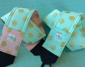 Camera Strap Blush Pink Mint Gold Polka Dot Reversible Built in Lens Cap Pocket