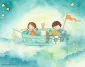 Every Night They Go Fishing for Stars - Brother and Sister - Art Print