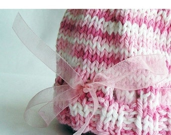 HOLIDAY SALE - Photo Prop Baby Hat, Hand Knit Pink White Variegated Cotton Yarn, Organza Ribbon