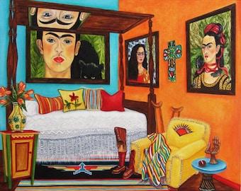 Frida Kahlo Print, Print, Mexican Art, Mexican Folk Art, Frida Kahlo, Orignal Art, Frida's Bedroom