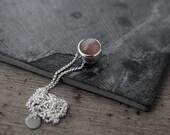 Small Peach Moonstone ball like pendant necklace