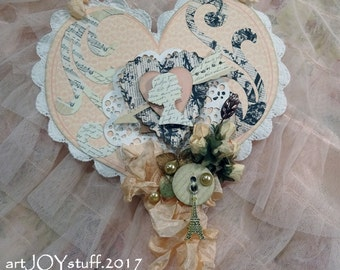 Paris French - layered paper heart - wall hanging - NO 26