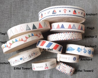 2 Yards Sewing Tape/Ribbon Collection - French Style Nautical Marine Anchor Sailing Boat Air Mail Eiffel Tower Party Flag(Choose Pattern)