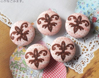 Retro Vintage French Style Dotted Brown Fleur de Lis On Pink- Handmade Fabric Covered Buttons(0.87 Inches, 5PCS)