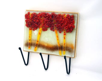 Wall Coat Rack, Trees fused glass image wall hanging hook.