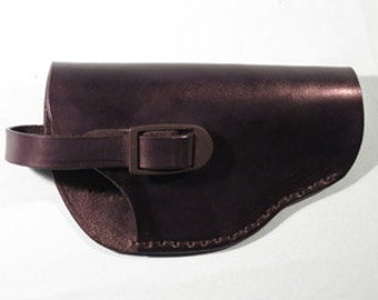 """Leather Semi-Automatic Holster With Safety Strap,  Handmade,  Fits 3 1/2"""" to 4 1/2""""Barrels"""