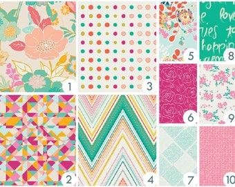 Baby Bedding - Floral Fusion - Custom Crib Bedding - Pink, Peach, Fuchsia, Aqua, Teal, Yellow