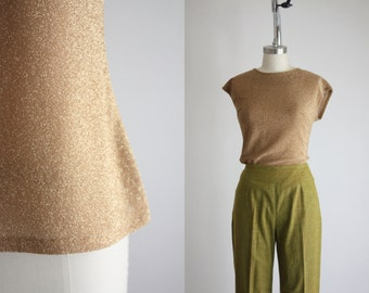 1960s golden shimmer blouse