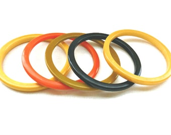 Bakelite Bangles, Mixed Colors: Custard, Orange, Pea Soup and Forest