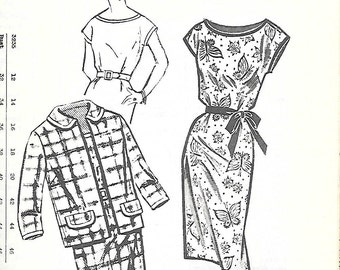 Mail Order 3235 UNCUT 1960s Mad Men Wiggle Dress and Jacket Vintage Sewing Pattern Womens Bust 44