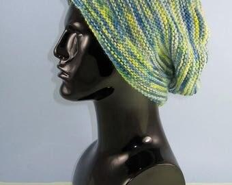 50% OFF SALE Instant Digital File pdf download knitting pattern - Chunky Self Striping garter Stitch Slouch  pdf download knitting pattern