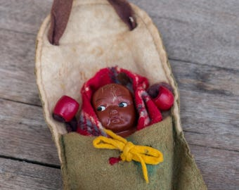 Vintage Tourist Indian Papoose Doll 3.5""