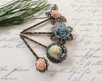 Off White And Black Mermaid And Pink  Floral Hair Clips