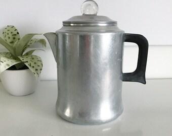 Vintage Metal Aluminum Comet Coffee Percolator Pot, 8 Cups, Plastic Handle