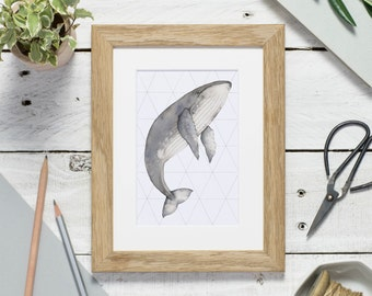 Whale art print - watercolour print - small print - humpback whale print - print for nursery - whale gift - whale illustration