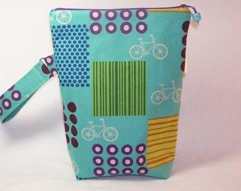 Bikes on Turquoise Knitting Valet -  Premium Fabric