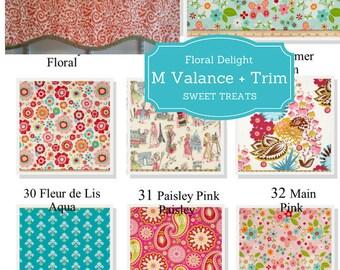 Custom Valance Shaped M with Trim - Floral Delight / Modern Floral Valance, Boho  Valance, Colorful Tropical Kitchen Valance,  Kids Curtain