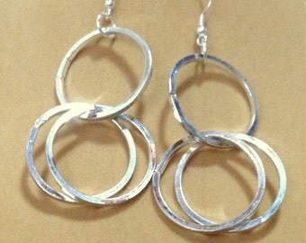 SALE    Long Chunky Silver Open Circle Link Earrings / Long Earrings / Chunky Earrings / Silver Earrings / Circle Earrings