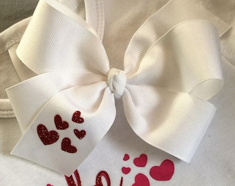 Valentine Boutique Hair Bow with tiny glitter red hearts