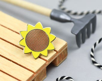 Hello Sunshine Sunflower pin - hard enamel pin badge - summer vibes all year - cheerful pin game