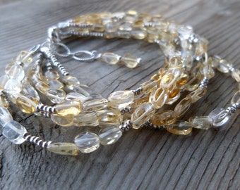 Six Strand Natural Unheated Soft Citrine and Fine Silver with Sterling Silver Birthstone Gemstone Bracelet