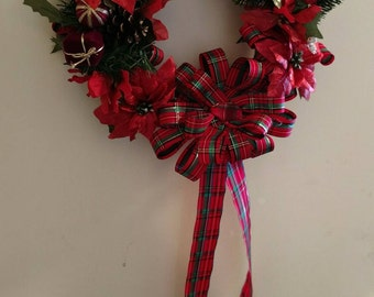 Wreath, Christmas Wreath, Holiday Decoration, Silk Floral Arrangement, Handmade Decor, Home Decor, Wall Hanging, Door Decor, Ready To Ship