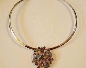 Sterling Silver Paua Shell, Peridot, Amethyst, Pink Topaz, Iolite and Moonstone Pin Pendant Necklace