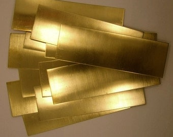 """Yellow Brass Sheet 16ga 6"""" x 2"""" 1.30mm Thick Package Of 12"""