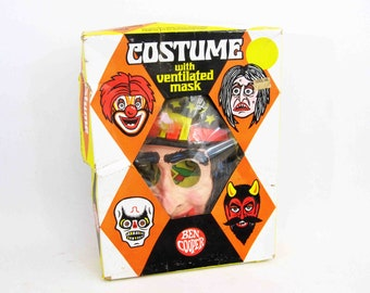 Vintage Ben Cooper Witch Halloween Costume. Size Medium with Original Box. Circa 1970's.