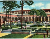 Vintage Florida Postcard - Courtyard at the Ringling Museum of Art, Sarasota (Unused)