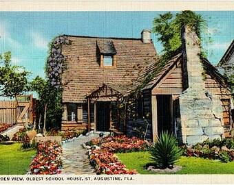 Vintage Florida Postcard - Garden at the Oldest School House, St. Augustine (Unused)