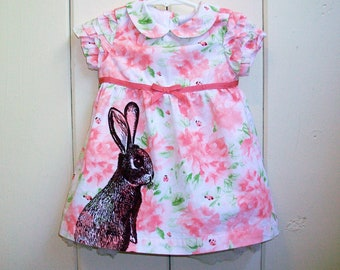 Easter Bunny baby dress - upcycled screenprinted ladybugs and flowers teaparty dress - one of a kind, baby girl 6 to 9 months old