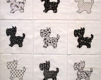 Black and White Scottie Dogs Appliqued Quilt Blocks