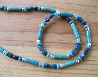 Turquoise Necklace, Native American Necklace, Turquoise, Lapis, Silver Necklace, Tribal Necklace, Womens Tribal Necklace, Mens Necklace