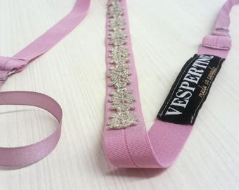 Gold or Silver Lace Tie Belt / Gifts for Her / SALE / Metallic belt / Mothers Day / Hairband / Gold Headband / Peach / Ready to Ship