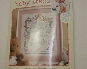 Leisure arts baby steps Crossstitch 11X14 New
