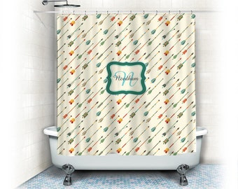 Personalized Shower Curtain - Ethnic Arrows Theme- shown here Cream and warm color hues