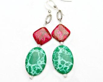 Emerald Earrings Green Jasper Hot Pink Gemstone Long Dangles Modern Geometric  Fun Colorful High Fashion Statement Jewelry by Mei Faith