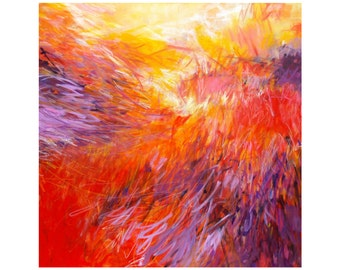 Large Abstract Expressionist Painting, Modern Home Decor, Original 36x36 Square Canvas Wall Art, red yellow orange purple, Torrant