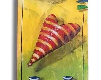 Contemporary Rebus Mixed Media Acrylic Painting - I LOVE YOU - 01