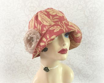 Womens Cloche Hat - Cotton Sunhat - Terracotta Print Hat - Ready to Ship - Size Medium - Elegant Chemo Hat - Floral Print Hat - Handmade USA