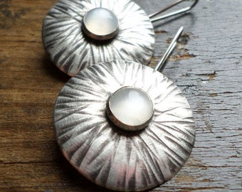 Sterling Silver Earrings, White Moonstone Round Domed Textural Classic Silversmith Handwrought Sterling Artisan Handmade Silver Jewelry