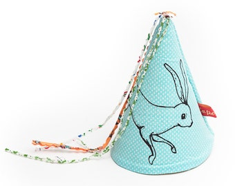 rabbit print fabric party hat