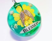 Blessed Real Flowers Angel Wings Charm Resin Pendant Nature Necklace Bohemian Jewelry Quote Scroll Green Spiritual