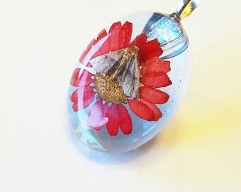 Real Moth Red Flower Nature Necklace Blue Resin Pendant Wings Bohemian  Jewelry  Insect Bug Butterfly Cruelty Free